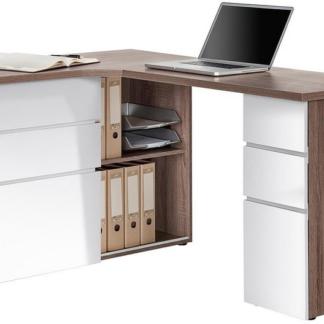 Asko Rohový psací stůl Model 9543, dub truffel/bílý lesk