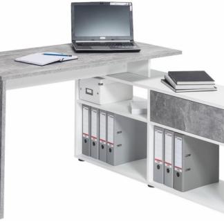 Asko Rohový psací stůl Typ 4019, beton/bílý
