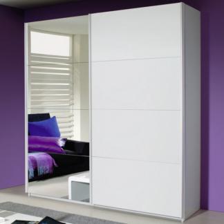 Asko Šatní skříň Quadra, 181 cm, bílá/zrcadlo