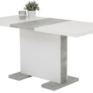 Asko Jídelní stůl Tamara 120x80 cm, bílý lesk/šedý beton