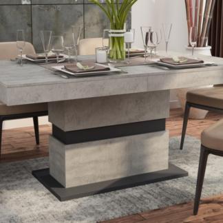 Asko Jídelní stůl Nestor 160x90 cm, beton/grafit, rozkládací