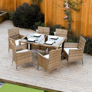 Zahradní set, jídelní stůl + 6x židle, ratan, medová / krémová, GARDEN 0000186614 Tempo Kondela