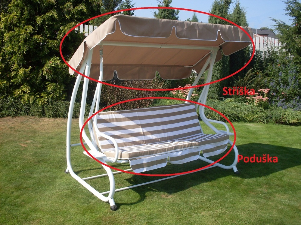 Stříška+podušky k houpačce De Luxe béžová ROJAPLAST Béžová / bílá