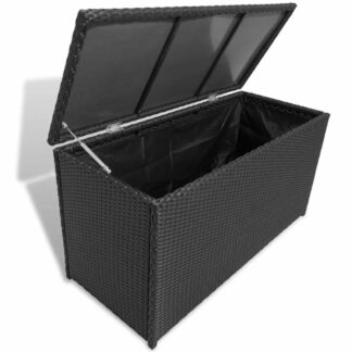 Zahradní úložný box polyratan Dekorhome Černá