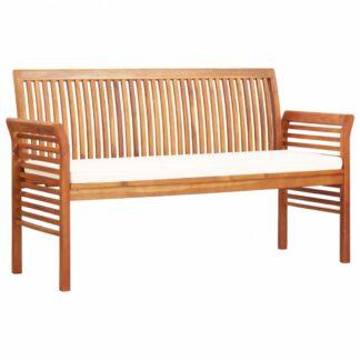 Zahradní lavice 150cm akáciové dřevo Dekorhome Krémová