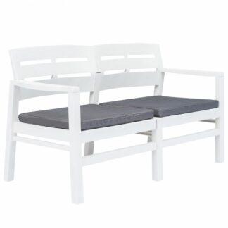 Zahradní lavice s poduškami 133 cm Dekorhome Bílá