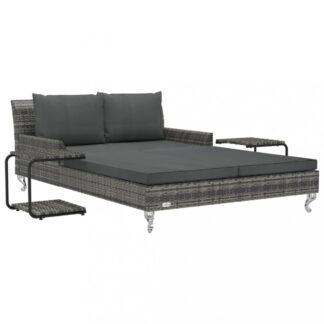 Zahradní postel s poduškou a stolky Dekorhome Šedá