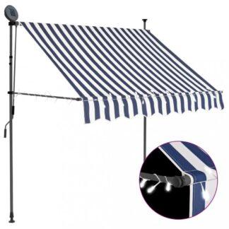 Ručně zatahovací markýza s LED světlem 100 cm Dekorhome Bílá / modrá