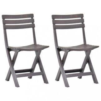 Skládací zahradní židle 2ks plast Dekorhome Cappuccino