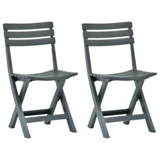 Skládací zahradní židle 2ks plast Dekorhome Zelená