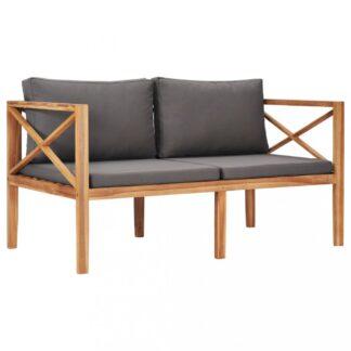 Zahradní lavice 122 cm teakové dřevo Dekorhome Šedá