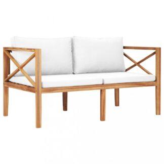 Zahradní lavice 122 cm teakové dřevo Dekorhome Krémová