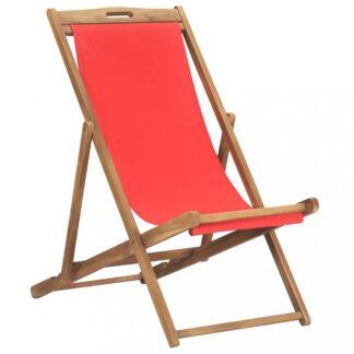 Skládací plážové křeslo teak Dekorhome Červená
