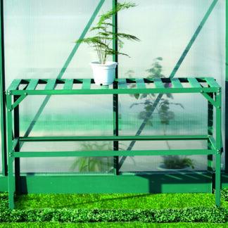 Hliníkový regál 1 police 126x50 cm zelený Dekorhome