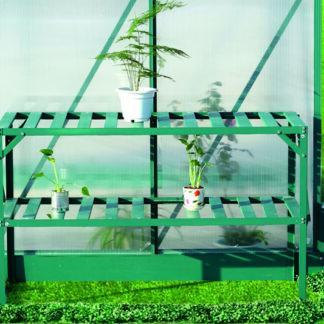 Hliníkový regál 2 police 126x50 cm zelený Dekorhome