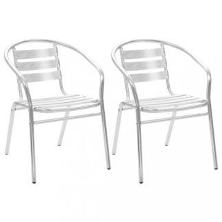 Stohovatelné zahradní židle 2 ks hliník Dekorhome