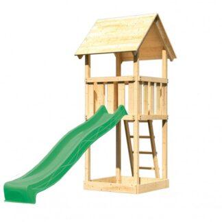 Dětský domeček se skluzavkou Dekorhome Zelená