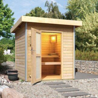 Venkovní finská sauna 196 x 196 cm Dekorhome Smrk