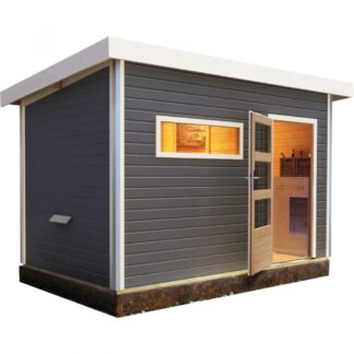 Venkovní finská sauna s předsíní 337 x 231 cm Dekorhome Šedá