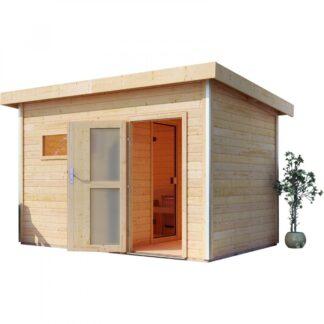 Venkovní finská sauna s předsíní 337 x 231 cm Dekorhome Smrk