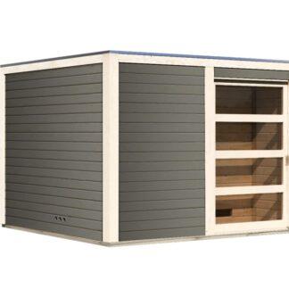Venkovní finská sauna s předsíní 276 x 276 cm Dekorhome Šedá