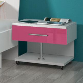 Noční stolek RAJ, bílá/růžový lesk