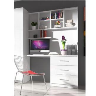 Regál s psacím stolem RAJ 3, bílá/bílý lesk