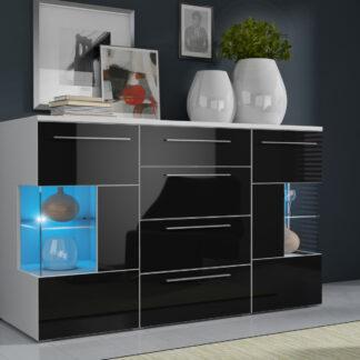 ROMA komoda s LED osvětlením, bílá/černý lesk