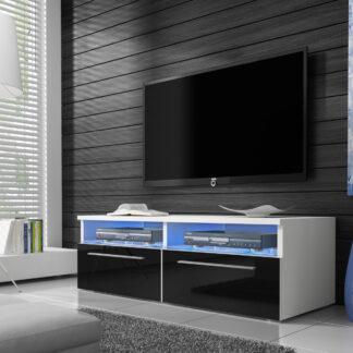 Televizní stolek RTV 6, bílá/černý lesk