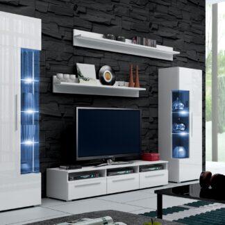 Obývací stěna ROMA I s LED osvětlením, bílá/bílý lesk