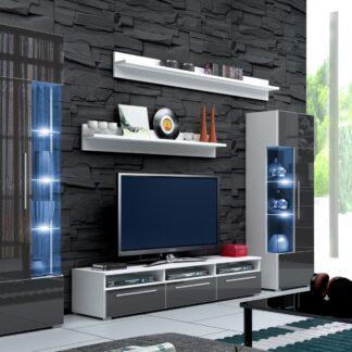 Obývací stěna ROMA I s LED osvětlením, bílá/šedý lesk