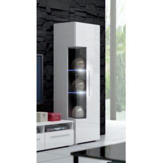 ROMA vitrína 160 s LED osvětlením, bílá/bílý lesk