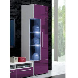 ROMA vitrína 160 s LED osvětlením, bílá/fialový lesk