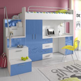 Patrová postel se skříní a psacím stolem RAJ 4S, bílá/modrá
