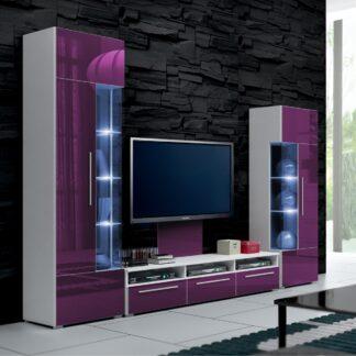 Obývací stěna ROMA II s LED osvětlením, bílá/fialový lesk