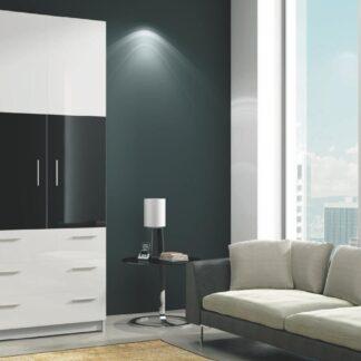 ROMA šatní skříň se zásuvkami, bílá/černý lesk