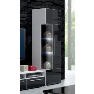 ROMA vitrína 160 s LED osvětlením, bílá/černý lesk