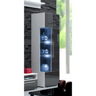 ROMA vitrína 160 s LED osvětlením, bílá/šedý lesk