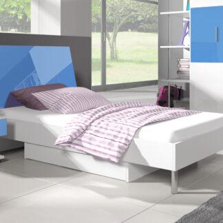 Postel 90x200 cm RAJ 3, bílá/modrý lesk