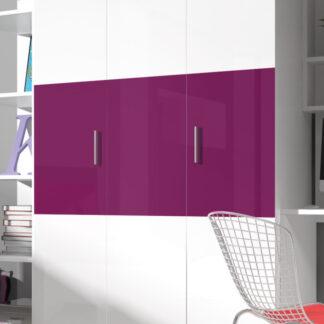 Šatní skříň RAJ 3, bílá/fialový lesk