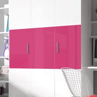 Šatní skříň RAJ 3, bílá/růžový lesk