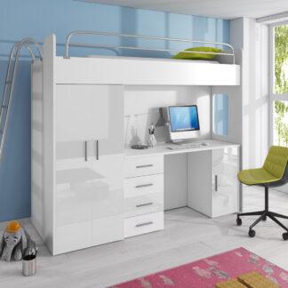 Patrová postel se skříní a psacím stolem RAJ 4D, bílá