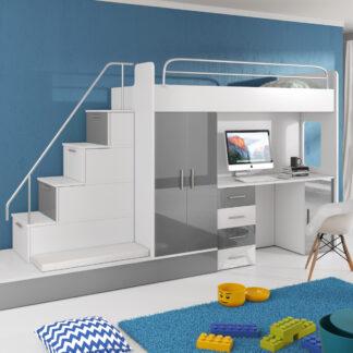Patrová postel se skříní a psacím stolem RAJ 5, bílá/šedá