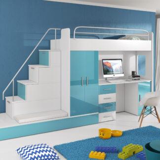 Patrová postel se skříní a psacím stolem RAJ 5, bílá/tyrkysová