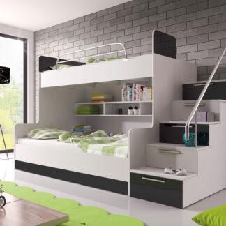 Patrová postel RAJ 2 pravá, bílá/černý lesk