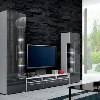 Obývací stěna ROMA II s LED osvětlením, bílá/šedý lesk