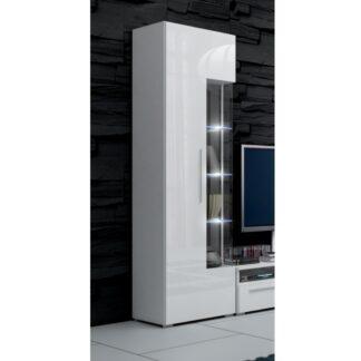 ROMA vitrína 190 s LED osvětlením, bílá/bílý lesk