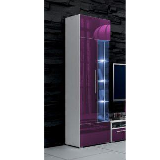 ROMA vitrína 190 s LED osvětlením, bílá/fialový lesk