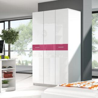 Šatní skříň RAJ 1, bílá/růžový lesk