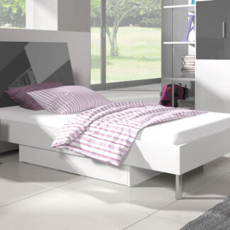 Postel 90x200 cm RAJ 3, bílá/šedý lesk